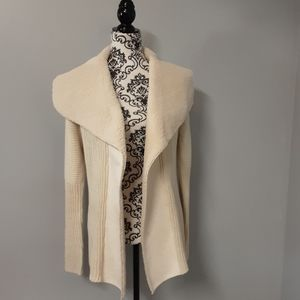 RD Style Open Front Sweater With Faux Lamb Coat